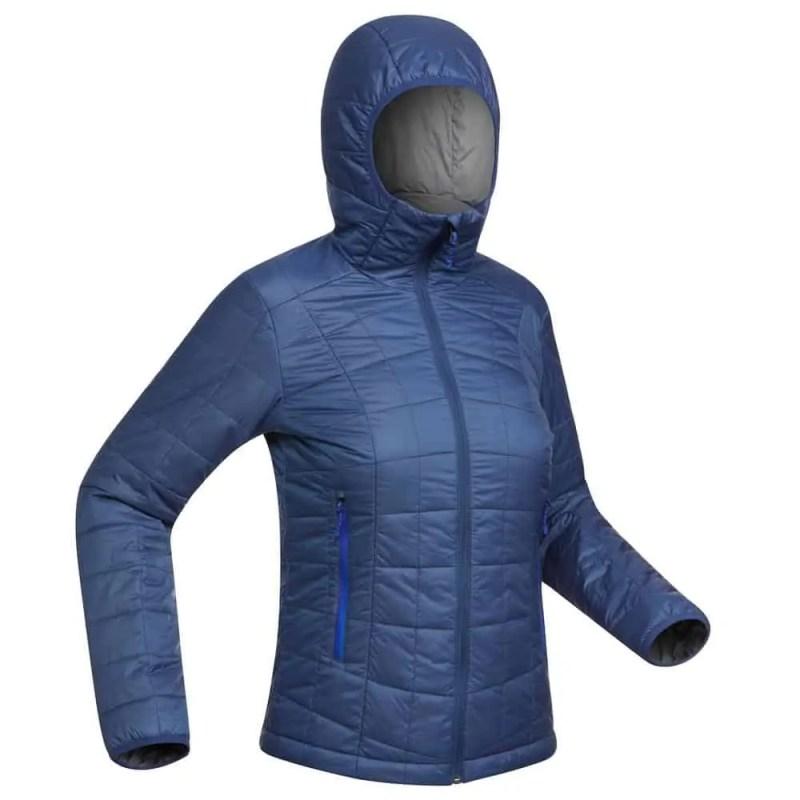 Decathlon - Doudoune+capuche+de+trek+montagne+TREK+100+bleue+Femme