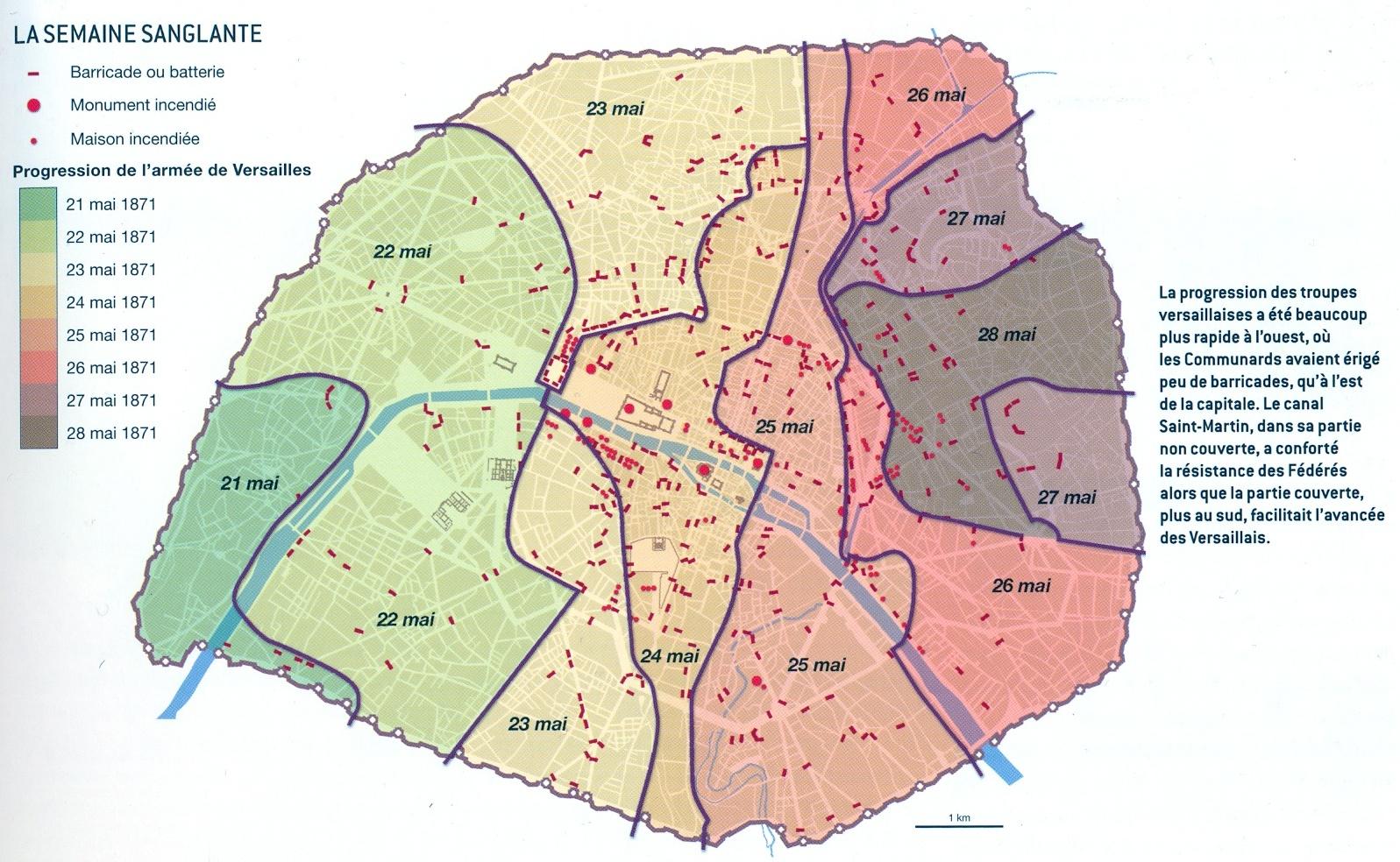 Carte des combats de la Commune d'après l'Atlas des parisiens.