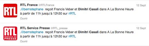 Stéphane Bern a reçu Dimitri Casali le 12 septembre 2013 sur RTL.