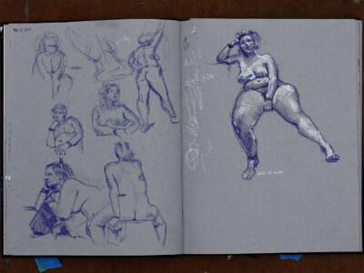 Anna w/ ballpoint pens