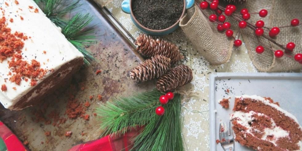 Bûche de Noël rouge (Betterave et Earl Grey)