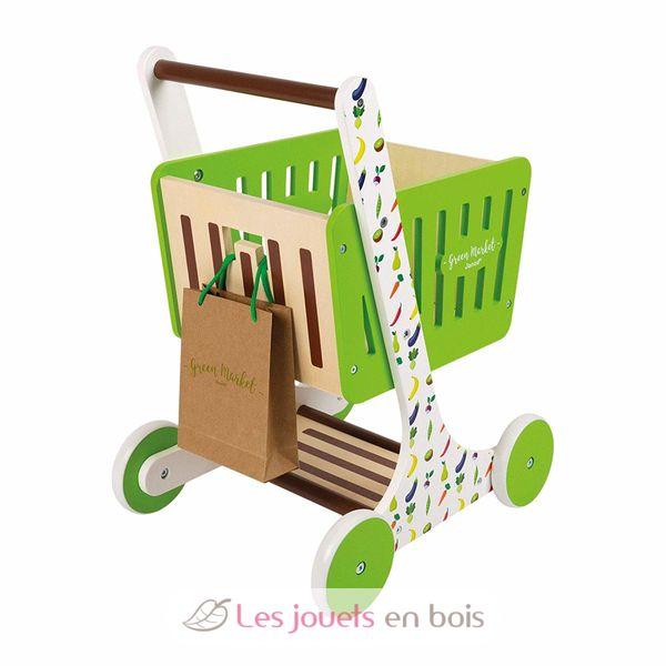 chariot de courses en bois green market