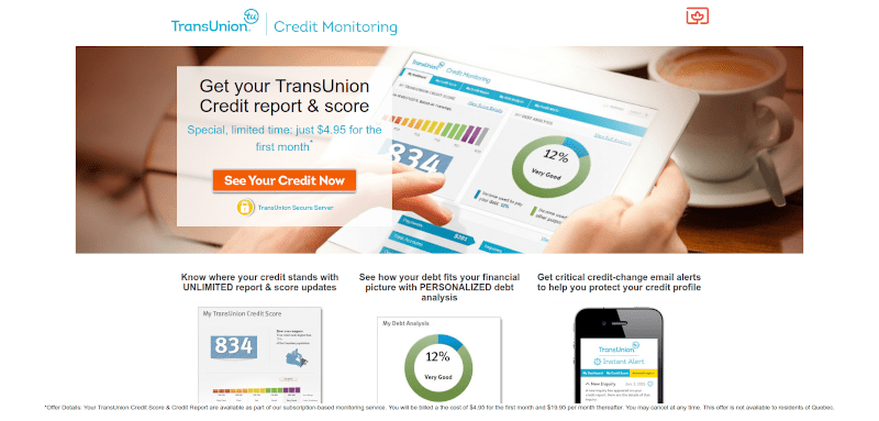 transunion website screenshot