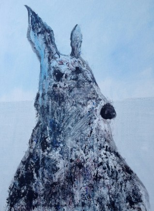 Blue Hare framed 65 x 50