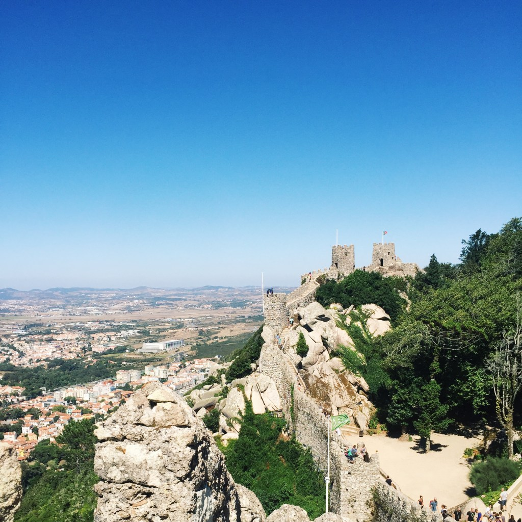 The Moorish Castle sits atop Sintra. Conquered by the Christians in 12th century, deserted in 19th century.