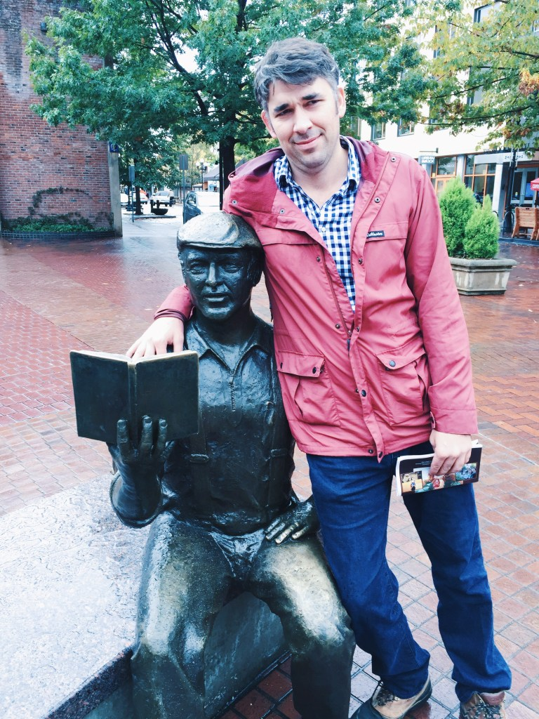 Reed with Ken Kesey Statue in Eugene Oregon