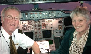 Close up Chuck and Leslie in cockpit