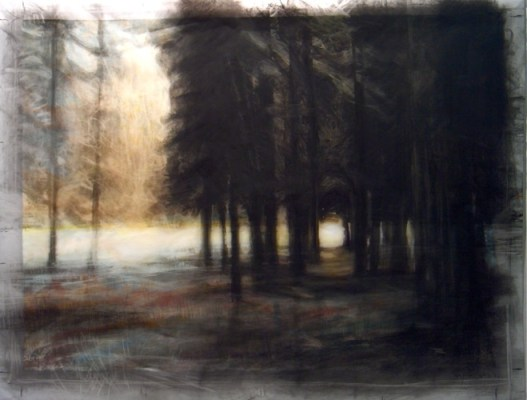 """Frozen river, Banff. Charcoal on vellum over acrylic on paper, 20.5"""" x 26.5"""", 2010  SOLD"""