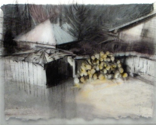 """Sheds and firewood, Banff. Charcoal on vellum over acrylic on paper, 5"""" x 6.5"""", 2010 SOLD"""