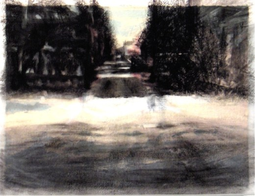 """Down the road, Banff. Charcoal on vellum over acrylic on paper, 5"""" x 6.5"""", 2010 SOLD"""