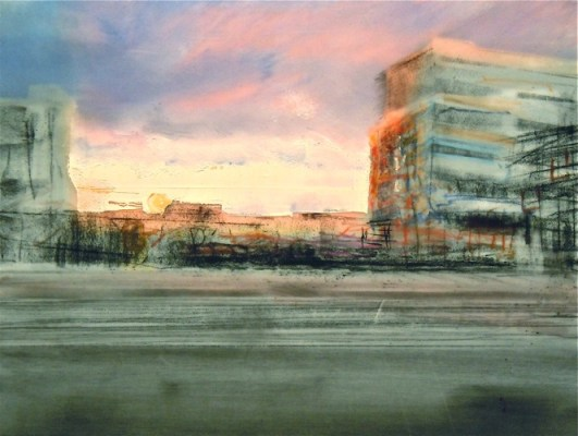 """Hoardings at Sunset. Charcoal and oil on mylar over acrylic on paper, 5"""" x 6.5"""", 2012 SOLD"""