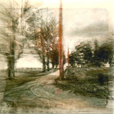 """Lane with Pole. Charcoal on vellum over acrylic on paper, 5.25"""" x 5.25"""", 2012 