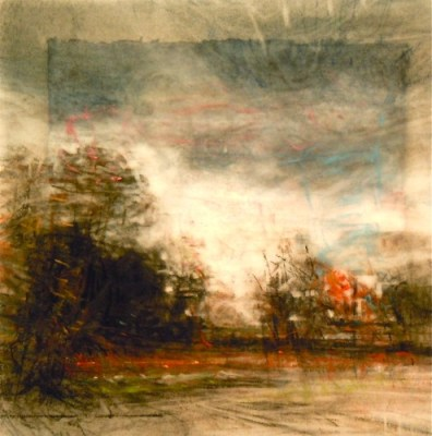"""Late Autumn. Charcoal on vellum over acrylic on paper, 5.25"""" x 5.25"""", 2012 SOLD"""