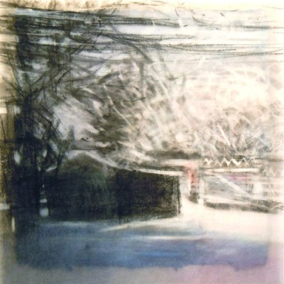 """Morning Snow. Charcoal on vellum over acrylic on paper, 5.25"""" x 5.25"""", 2012 SOLD"""