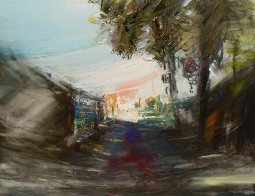 """Summer Laneway. Charcoal and oil on mylar, 5"""" x 6.5"""", 2011 SOLD"""