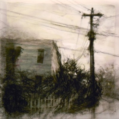 """Corner House. Charcoal on vellum over acrylic on paper, 5.25"""" x 5.25"""", 2010 SOLD"""