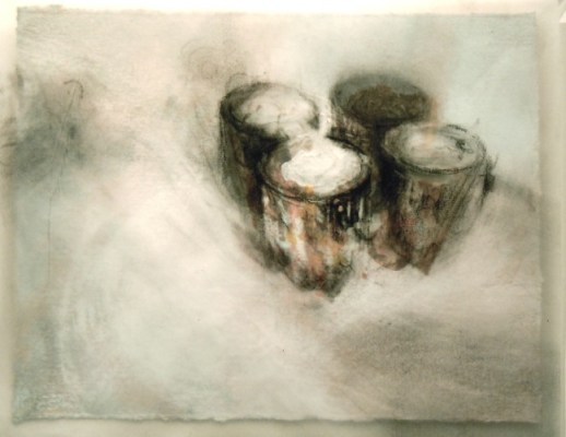 """Cans. Charcoal on vellum over acrylic on paper, 5"""" x 6.5"""", 2010 SOLD"""
