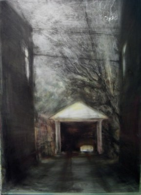 """Garage. Charcoal on mylar over acrylic on paper, 22"""" x 30"""", 2010 