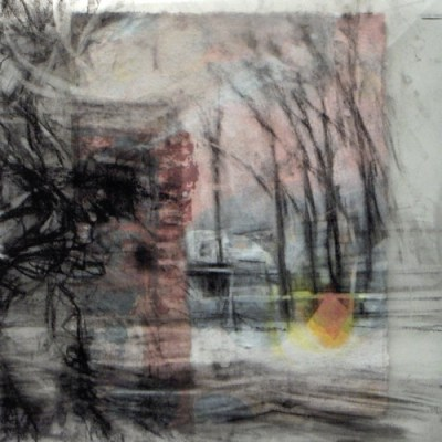 """Cold Trees. Charcoal on vellum over acrylic on paper, 5"""" x 5"""", 2010 SOLD"""