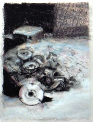 """Junk. Charcoal on vellum over acrylic on paper, 5"""" x 6.5"""", 2010 SOLD"""