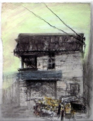 """High Park Scrap Metal. Charcoal on vellum over acrylic on paper, 5"""" x 6.5"""", 2010 SOLD"""