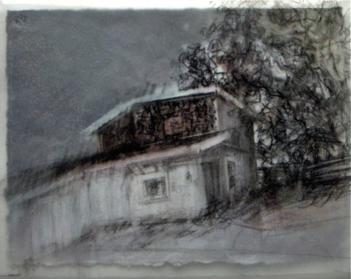 """Wonky house. Charcoal on vellum over acrylic on paper, 5"""" x 6.5"""", 2010 SOLD"""