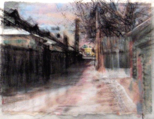 """Alley. Charcoal on vellum over acrylic on paper, 5"""" x 6.5"""", 2010 SOLD"""