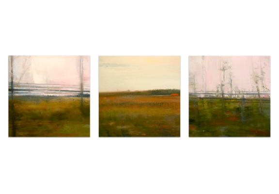 """Railscape Triptych. Charcoal and oil on mylar, 5"""" x 15"""", 2011 SOLD"""