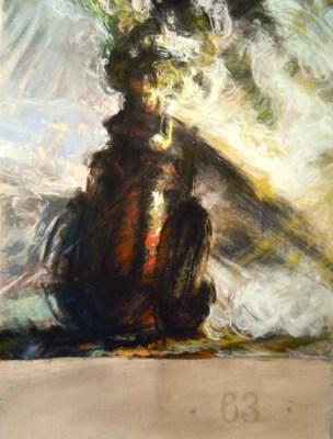 """Steam Engine. Chalk pastel on paper, 22"""" x 30"""", 2010 SOLD"""