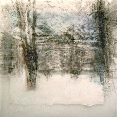 """Secret Lane. Charcoal on vellum over acrylic on paper, 6""""x 6"""", 2012 SOLD"""