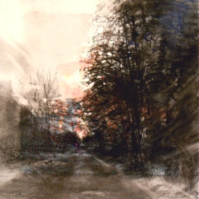 """Street with Trees. Charcoal on vellum over acrylic on paper, 5.25"""" x 5.25"""", 2012 SOLD"""