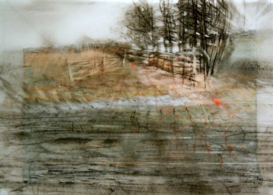 """Tree Hedge. Charcoal on vellum over acrylic on paper, 5"""" x 6.75"""", 2012 SOLD"""