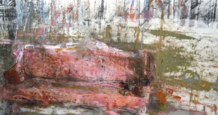 """Chesterfield. Oil and charcoal on mylar, 5.25"""" x 9.75"""", 2014  SOLD"""