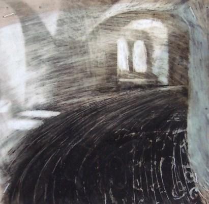 "Climbing the Rundetaarn, Copenhagen. Oil stick on duralar over  acrylic on paper, 3.5"" x 3.5"", 2015 SOLD"