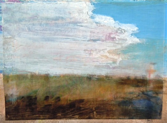 """Clouds over Field. Oil stick on duralar over acrylic on paper, 6"""" x 4.5"""", 2014  