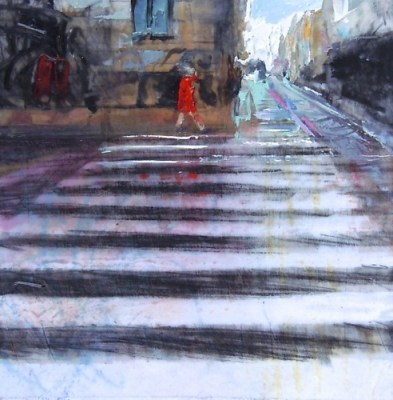 """Crosswalk, Copenhagen. Oil and charcoal on mylar over acrylic on paper, 3.5"""" x 3.5"""", 2015 SOLD"""