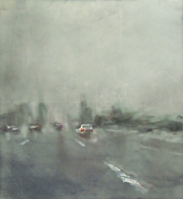 """Deluge. Oil and charcoal on mylar over acrylic on paper, 5"""" x 5.25"""", 2014 SOLD"""