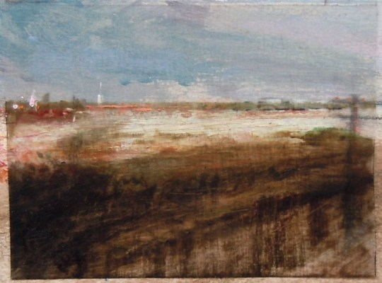 """Ditches. Oil stick on duralar over acrylic on paper, 6"""" x 4.5"""", 2014 