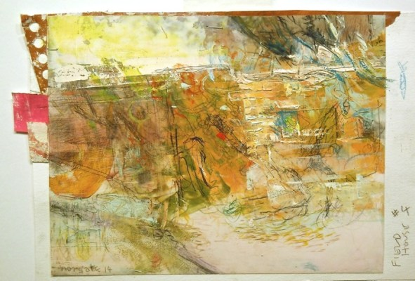 """Field House #4. Oil, charcoal and pencil on mylar over acrylic on paper, 7.5""""x 5.25"""", 2014  SOLD"""