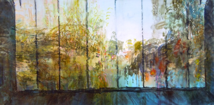 """Framed Willows. Oil stick on duralar over acrylic on panel, 12"""" x 24"""", 2015 SOLD"""