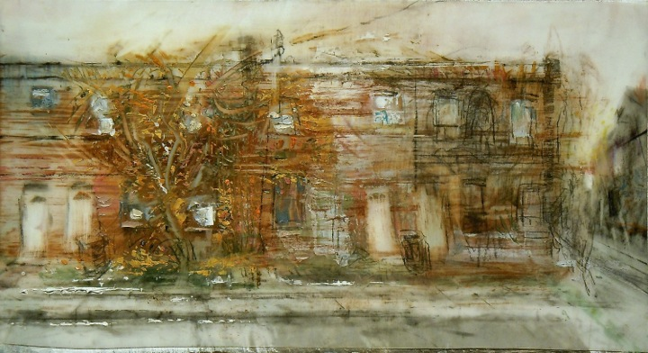"""House with Vines. Oil and charcoal on mylar over acrylic on paper, 9.75"""" x 5.25"""", 2014  SOLD"""