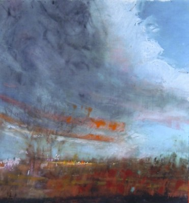 """Moving Cloud. Oil and oil stick on duralar over acrylic on paper, 5"""" x 5.5"""", 2015 SOLD"""