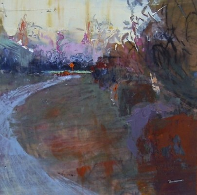 """Park at Sunset, Copenhagen. Oil and charcoal on mylar over acrylic on paper, 3.5"""" x 3.5"""", 2015 SOLD"""