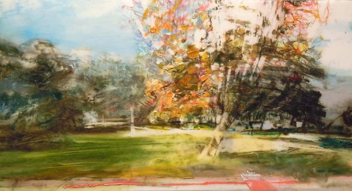 """Park Tree. Oil and charcoal on mylar over acrylic on paper, 9.75"""" x 5.25"""", 2014  SOLD"""