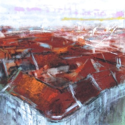 """Rooftops, Copenhagen. Oil stick and charcoal on duralar over acrylic on paper, 3.5"""" x 3.5"""", 2015 SOLD"""