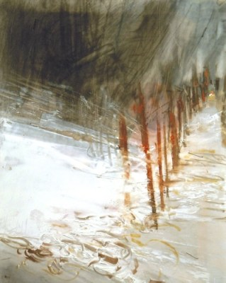 """Snow Fence. Oil and charcoal on mylar over acrylic on paper, 7.25"""" x 6"""", 2013  SOLD"""