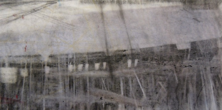 "Stadium. Charcoal on vellum, 7"" x 3.5"", 2014 SOLD"