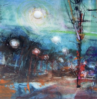 """Streetlamps. Oil and charcoal on mylar over acrylic on paper, 3.5"""" x 3.5"""", 2013 SOLD"""