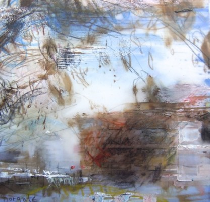 """Wabash #30. Oil and charcoal on mylar over acrylic on paper, 3.5"""" x 3.5"""", 2013 SOLD"""