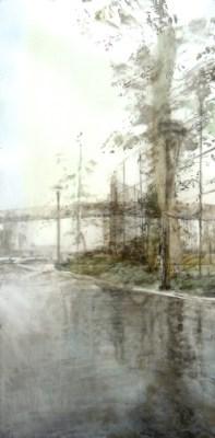 "Landscape with Rain. Oil stick on mylar over acrylic on canvas, 40"" x 20"", 2014 | $1,700"